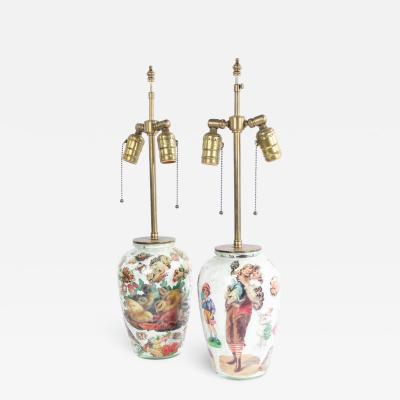 Pair of English Victorian Decoupage Table Lamps