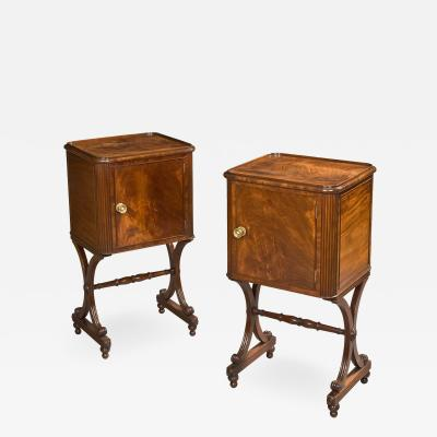 Pair of English X Form Mahogany Cupboards of the Regency Period