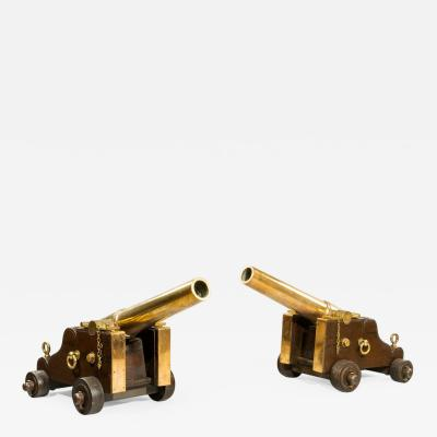 Pair of English bronze signal cannon