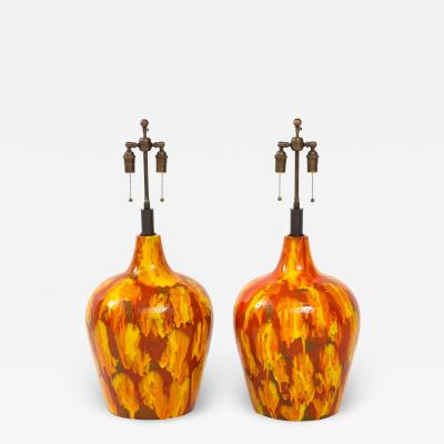 Pair of Enormous Italian Ceramic Lamps