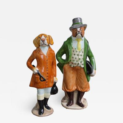 Pair of Equestrian Canine Figurines