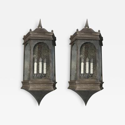 Pair of Estate Sized Copper Wall Sconce Lanterns with Pewter Finish