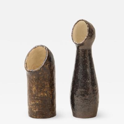 Pair of European Sculptural Ceramic Vases In the Style of Borderie 1960s