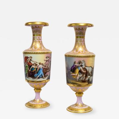 Pair of Exceptional Austrian Royal Vienna Ormolu Mounted Porcelain Vase
