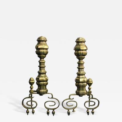 Pair of Exceptional Large Brass Andirons