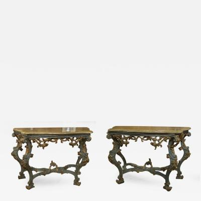 Pair of Exquisite Italian Painted and Gilt Marble Top Consoles