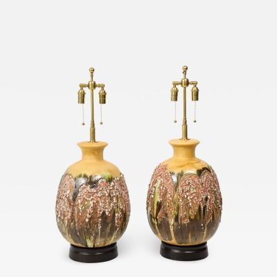 Pair of Extra Large Italian Volcanic Glazed Ceramic Lamps