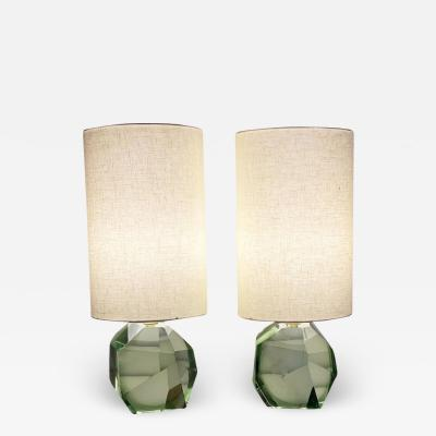 Pair of Faceted Murano Translucent Green Glass Table Lamps in Stock