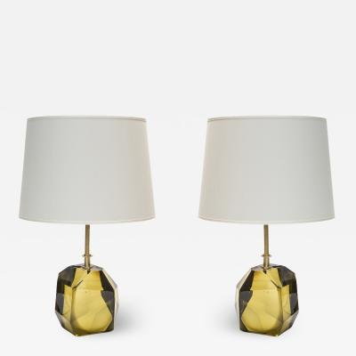 Pair of Faceted Smoked Glass with Brass Setting Table Lamps