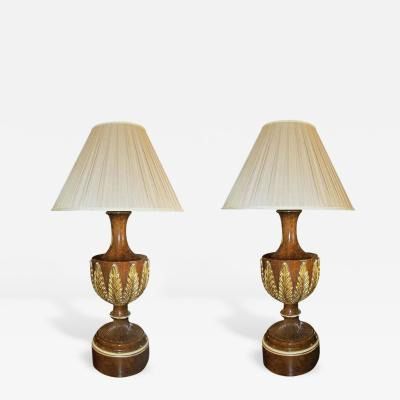 Pair of Faux Burl Walnut and Parcel Gilt Neoclassical Style Lamps