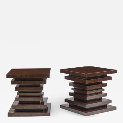 Pair of Faux Porphyry End Tables of cube shape designed by Thomas Britt