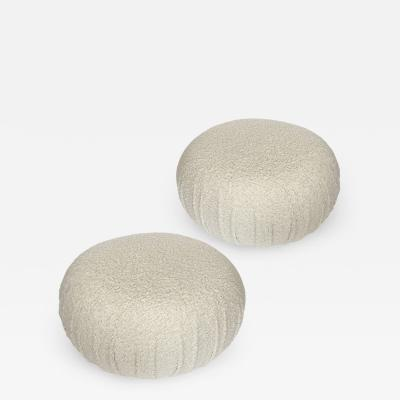 Pair of Faux Shearling Souffle Pouf Ottomans