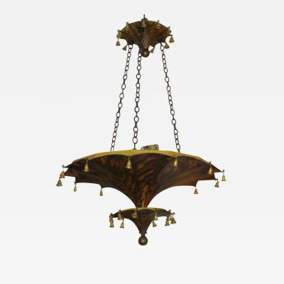 Pair of Faux Tortoise Pagoda Shaped Tole Fixtures