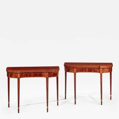 Pair of Federal Inlaid Kidney Shaped Card Tables
