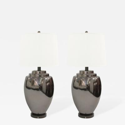 Pair of Fine Ceramic Table Lamps with Gunmetal Glaze