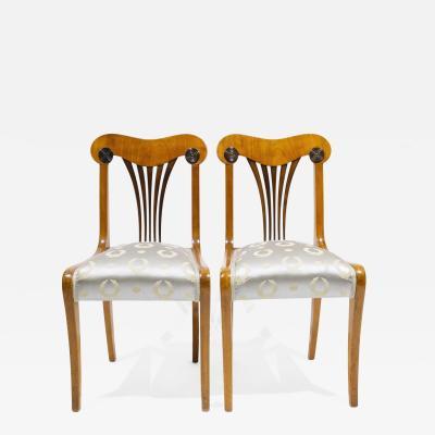 Pair of Fine Cherry Biedermeier Side Chairs