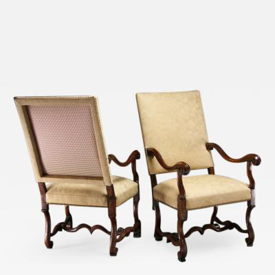 Pair of Fine Louis XIV Walnut Period Armchairs