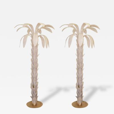 Pair of Floor Lamps Palm Murano Glass Opalescent circa 1970 Italy