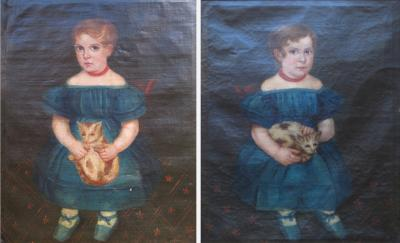 Pair of Folk Art Portraits of Twin Girls With Cats