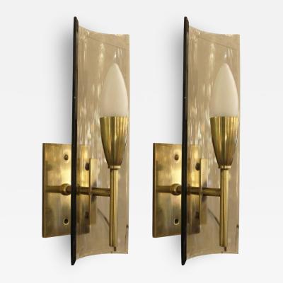 Pair of Fontana Arte Style Sconces Italy 1960s