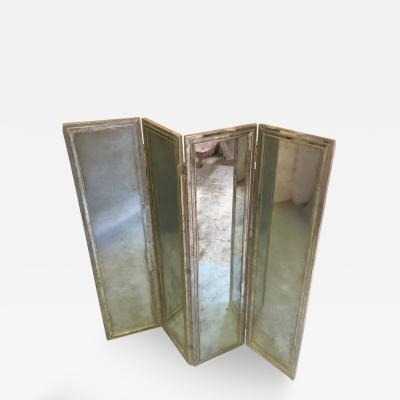 Pair of Four Panel Mirror Screen