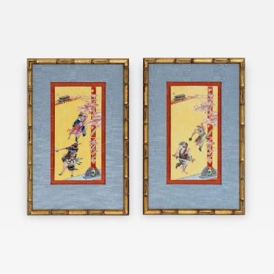 Pair of Framed Famille Jaune Porcelain Plaque Qing Dynasty
