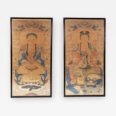 Pair of Framed of Antique Buddhism Paintings