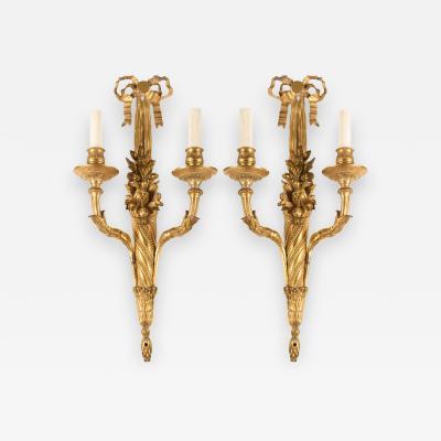 Pair of French 18th Century Louis XVI Ormolu Two Arm Sconces
