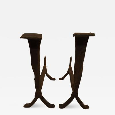 Pair of French 1930s Wrought Iron Andirons