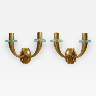Pair of French 1940 Bronze Wall Sconces