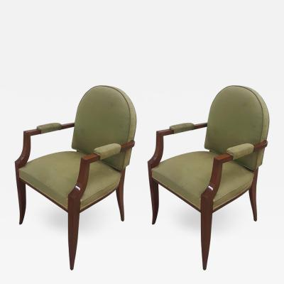 Pair of French 1940s Mahogany Armchairs