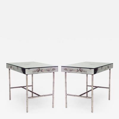 Pair of French 1940s Mirrored Low End Tables