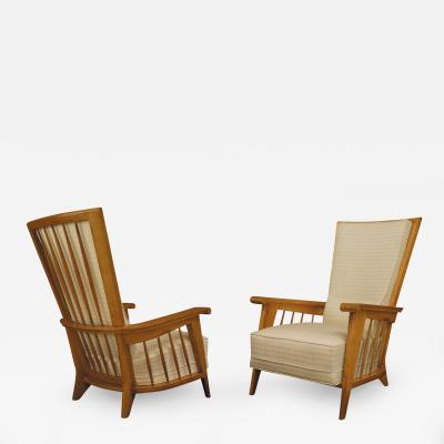 Pair of French 1940s Oak High Back Armchairs