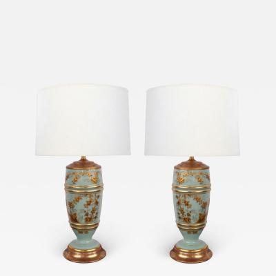 Pair of French 1940s Pale Blue Opaline Glass Lamps with Gilt Decoration