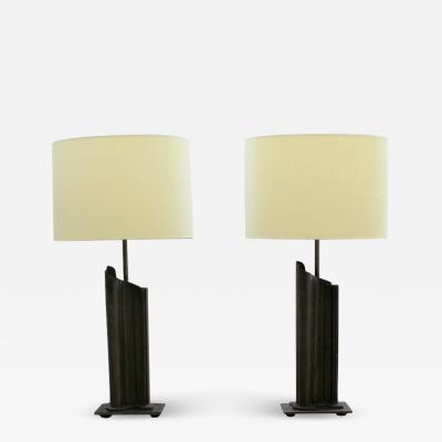 Pair of French 1970 s Metal Table Lamps