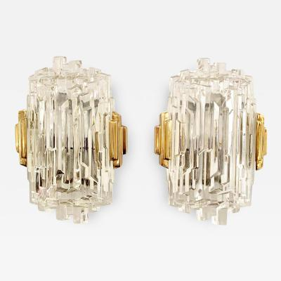 Pair of French 1970s Ice Crystal Wall Lights
