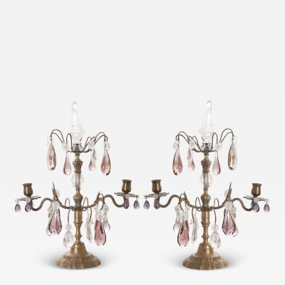 Pair of French 19th Century Brass and Crystal Girandoles