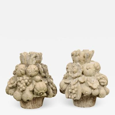 Pair of French 19th Century Cast Stone Fruitage Finials