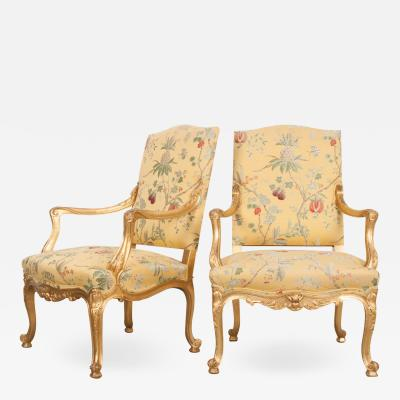Pair of French 19th Century Gold Gilt Louis XV Armchairs