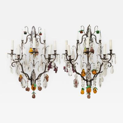 Pair of French 19th Century Iron and Crystal Fruitage Sconces