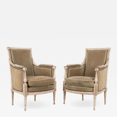Pair of French 19th Century Louis XVI Style Bergeres