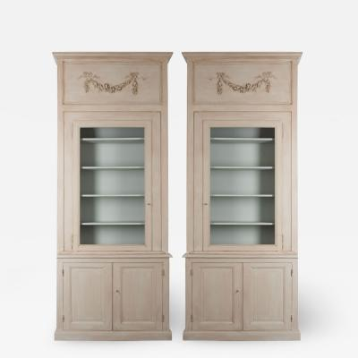 Pair of French 19th Century Painted Boiserie Bookcases