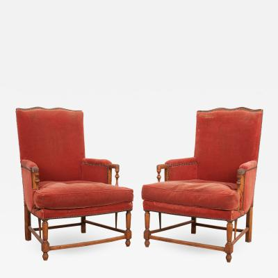 Pair of French 19th Century Provincial Walnut Fauteuils