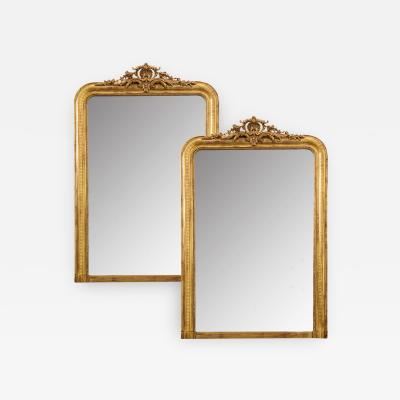 Pair of French 20th Century Reproduction Giltwood Mirrors