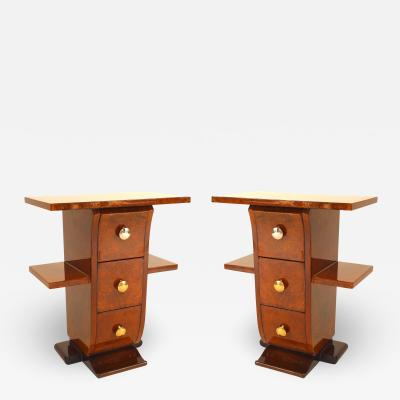 Pair of French Art Deco Amboyna Wooden End Tables
