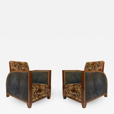Pair of French Art Deco Dufrene Club Chairs