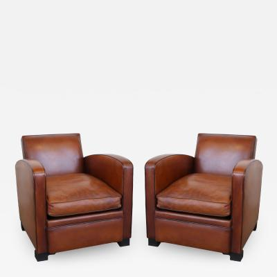 Pair of French Art Deco Original Leather Club Chairs circa 1930s