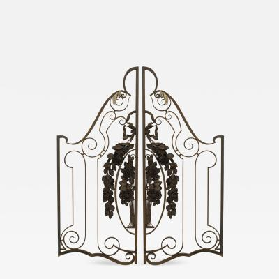 Pair of French Art Deco Wrought Iron and Gilt Trimmed Gates