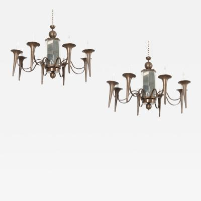 Pair of French Art Moderne Chandeliers