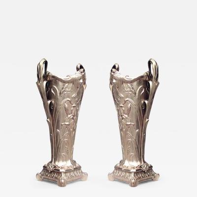 Pair of French Art Nouveau Bronze Dore Vases